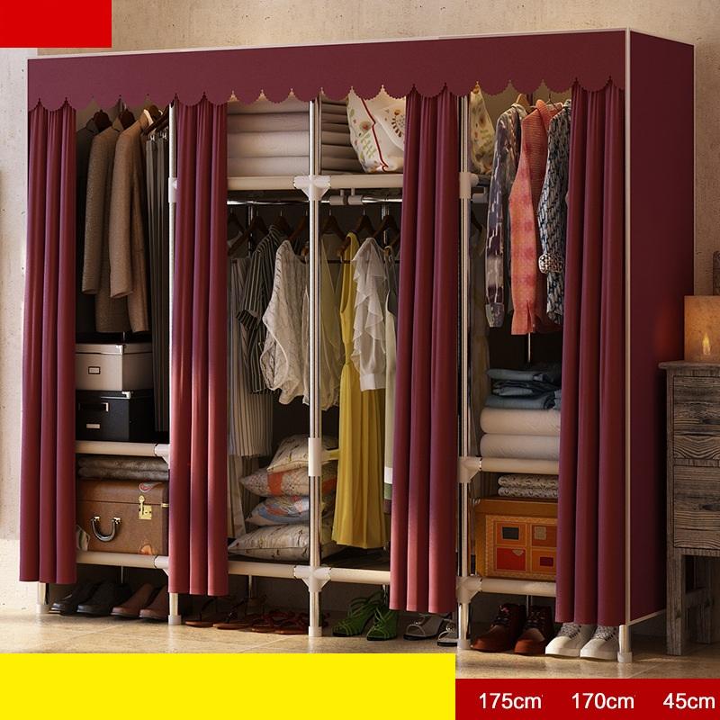 Tủ vải khung inox Metal khổ 1m70 màu mận