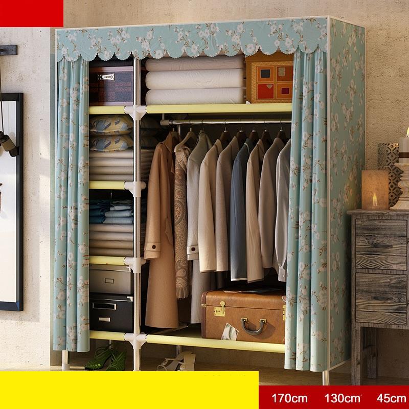 Tủ vải khung inox Metal khổ 1m30  màu xanh