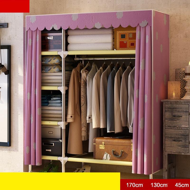 Tủ vải khung inox Metal khổ 1m30  màu hồng